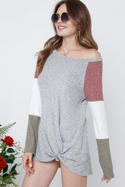 Color block long sleeve sweater-Sweater-Style Trolley