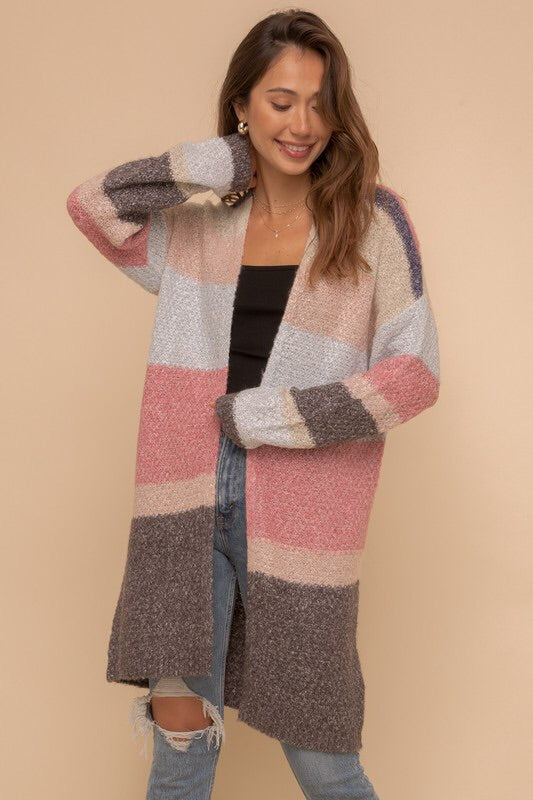 Colorblock Cardigan-Style Trolley