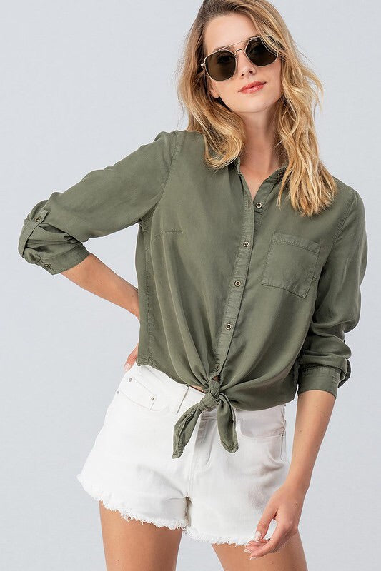 Sarah Olive Shirt-Top-Style Trolley
