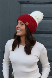 Colorblock Knit Pom Hat