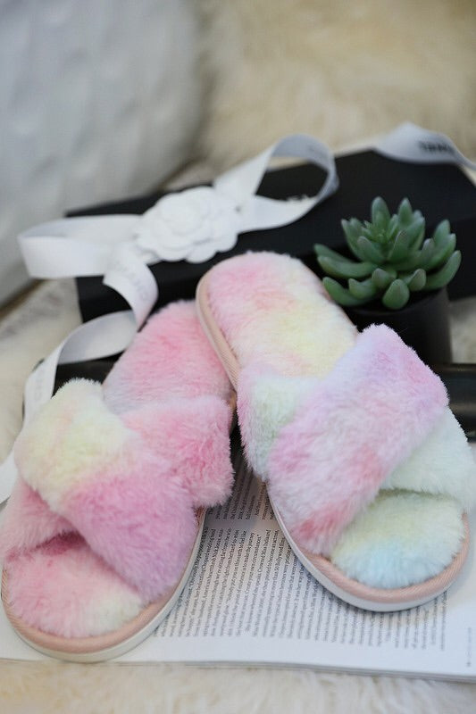 Pink & Yellow Fuzzy Slippers