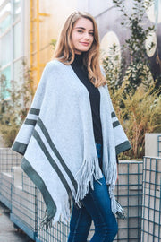 Border Accent Trim Ruana-Poncho-Style Trolley