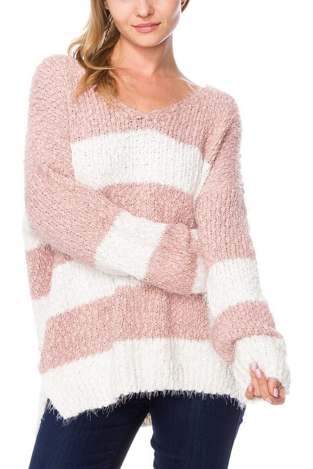 Popcorn Striped V-neck Sweater-Sweater-Style Trolley