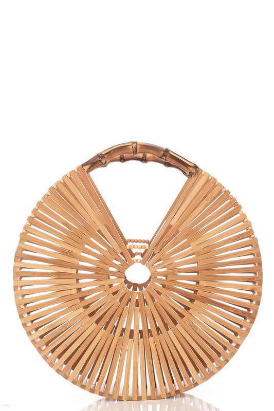 Round Bamboo Statement Clutch-Handbag-Style Trolley