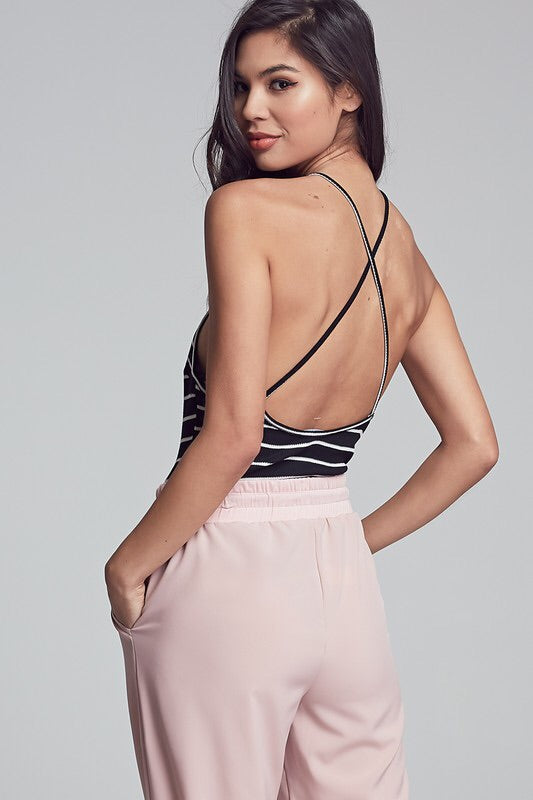 Striped Crossed Back Bodysuit-Top-Style Trolley