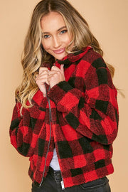 Buffalo Plaid Sherpa Zip-up-Jacket-Style Trolley