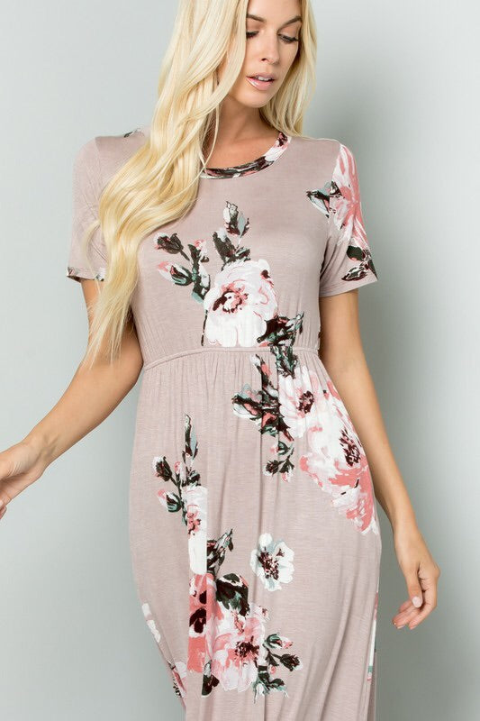 Mauve Floral Maxi Dress-Dress-Style Trolley