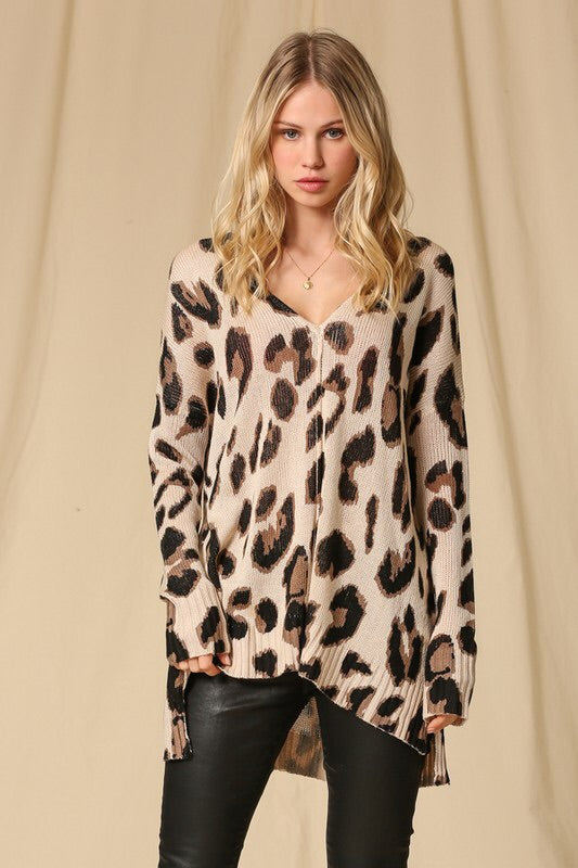 Lysette Leopard Print Tunic-Sweater-Style Trolley