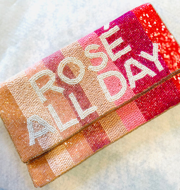 Rose All Day Beaded Clutch