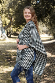 Houndstooth Plaid Ruana-Poncho-Style Trolley