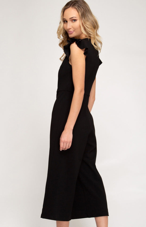 Megan Flounce Sleeve Jumpsuit-Bottoms-Style Trolley