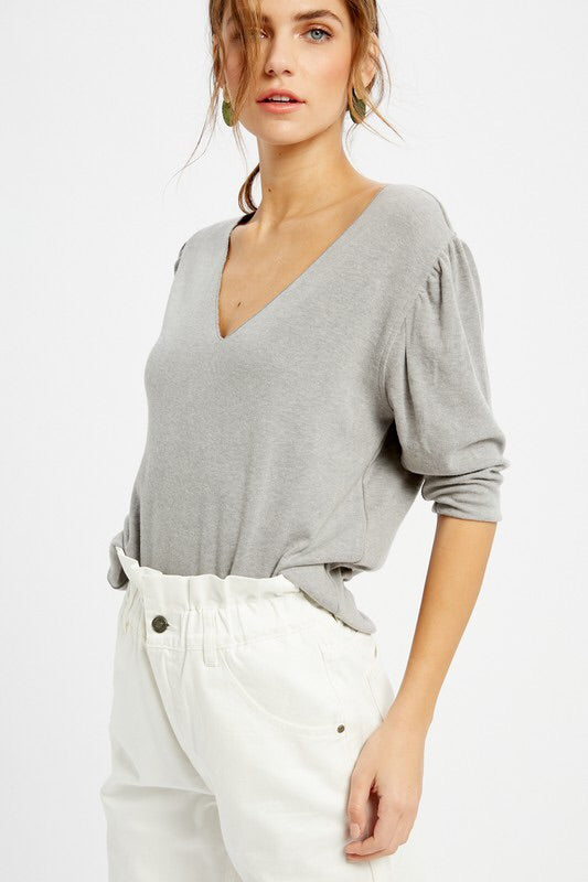V-Neck Jersey Top-Top-Style Trolley