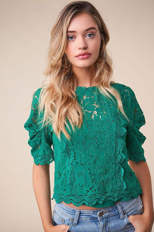 Emerald Lace Blouse-Top-Style Trolley