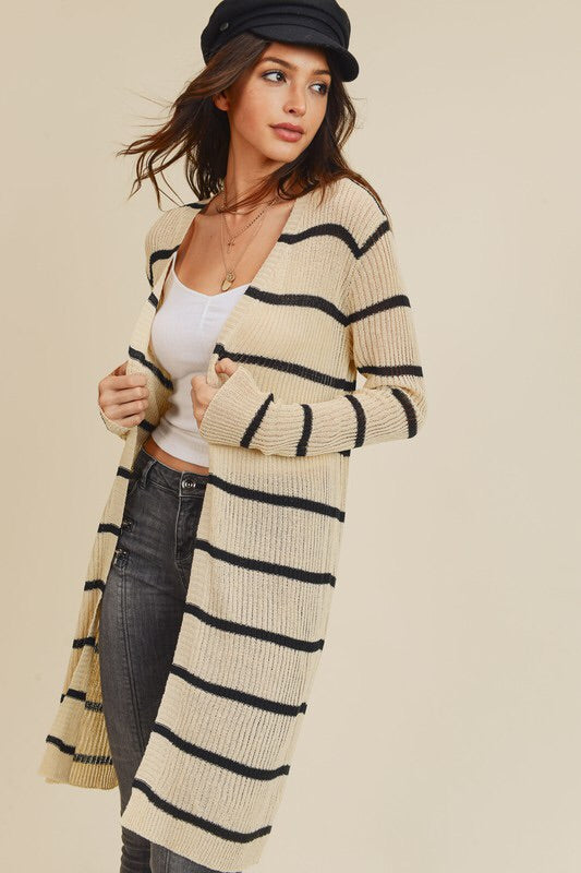 The Madalyn Striped Cardigan (Charcoal)-Sweater-Style Trolley