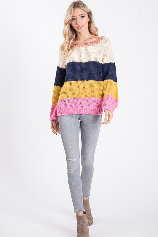 Rainbow Color block Sweater-Sweater-Style Trolley