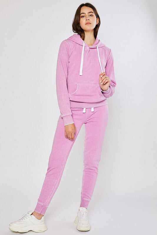 Mineral Washed Loungewear Set (Orchid Pink)-Loungewear-Style Trolley