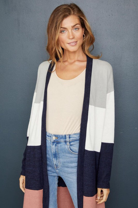 Colorblock Knit Duster