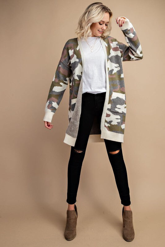 Bonnie Camo Print Cardigan-Sweater-Style Trolley