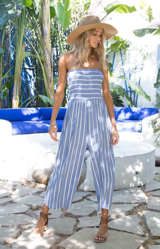 Annabelle Smocked Striped Jumpsuit-Jumpsuit-Style Trolley