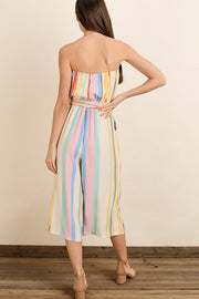 Rainbow Stripe Strapless Jumpsuit-Jumpsuit-Style Trolley
