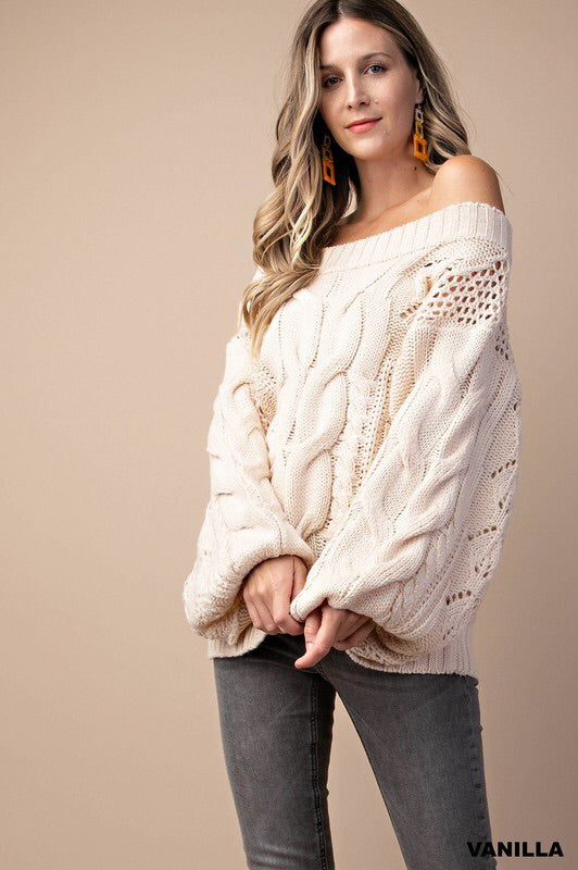 Vanilla Cable Knit Sweater-Sweater-Style Trolley