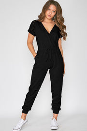 Marissa Short Sleeve V-Neck Jumpsuit-Jumpsuit-Style Trolley