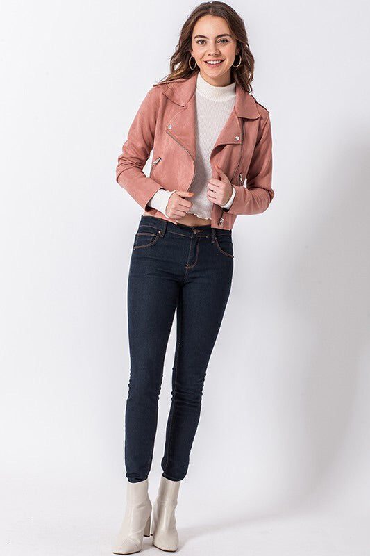The Mimi Blush Moto Jacket-Jacket-Style Trolley