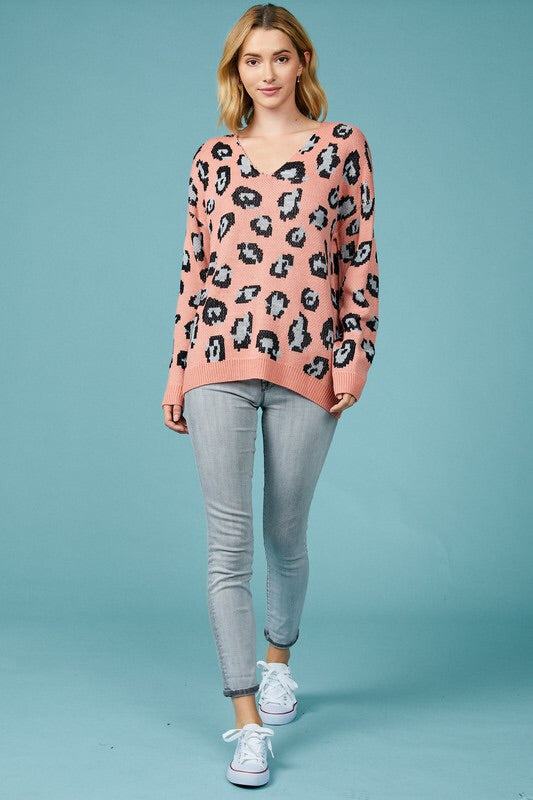 Chrissy Leopard V-neck Sweater-Sweater-Style Trolley