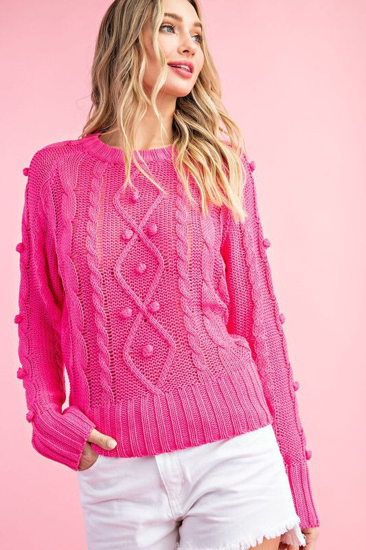 Pom Detail Cable Knit Sweater