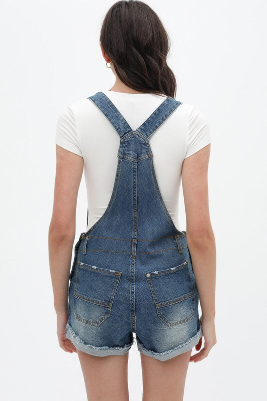 Distressed Denim Overalls-Overalls-Style Trolley