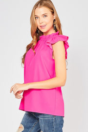 Mock neck ruffle top-Top-Style Trolley