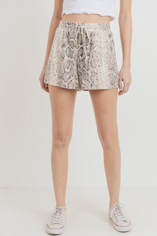 Snake Print Mini Thermal Shorts-Shorts-Style Trolley