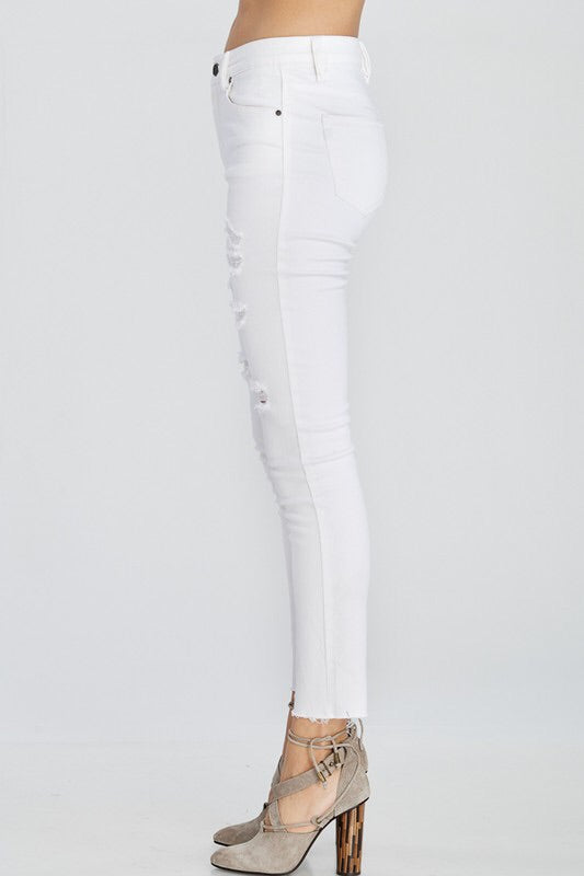 Distressed White Skinny Jean-Bottoms-Style Trolley