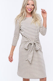 Striped Tie Waist Shirt Dress-Dress-Style Trolley