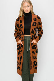 Animal Print Long Cardigan-Sweater-Style Trolley