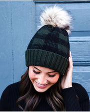 Plaid Knit Beanie & Mittens