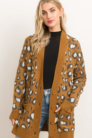 Animal Print Knit Cardigan-Sweater-Style Trolley