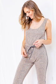 Leopard Print Sleeveless Jumpsuit-Loungewear-Style Trolley