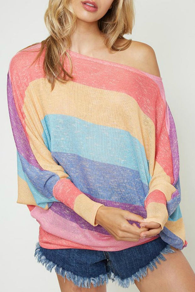 Rainbow Off the Shoulder Sweater-Sweater-Style Trolley