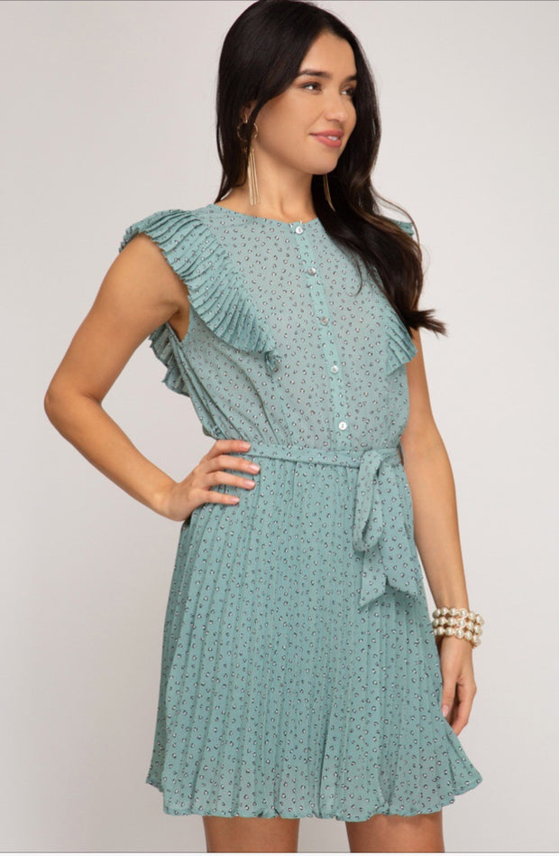 Mint Sage Ruffle Day Dress-Dress-Style Trolley