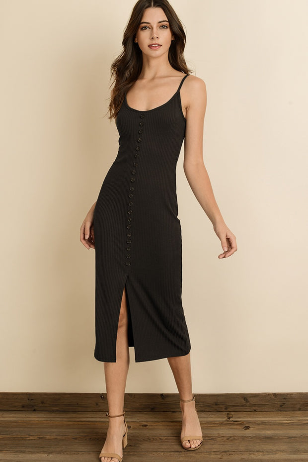 Ribbed Knit Midi Dress-Dress-Style Trolley