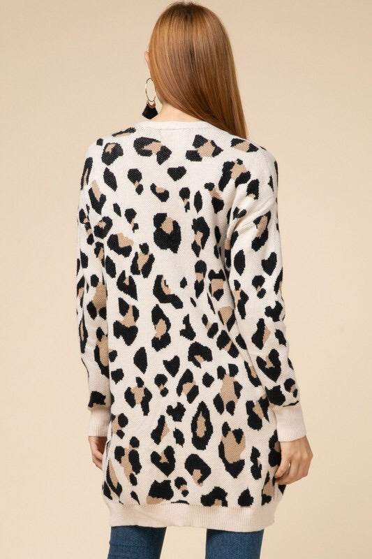 Leopard Print Cardigan-Sweater-Style Trolley
