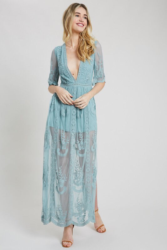 Mina Embroidered Lace Romper-Dress-Style Trolley