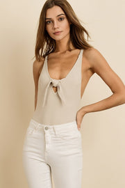 Ribbed Knot Front Bodysuit-Bodysuit-Style Trolley