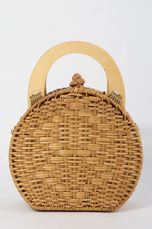 Round Rattan Purse-Handbag-Style Trolley