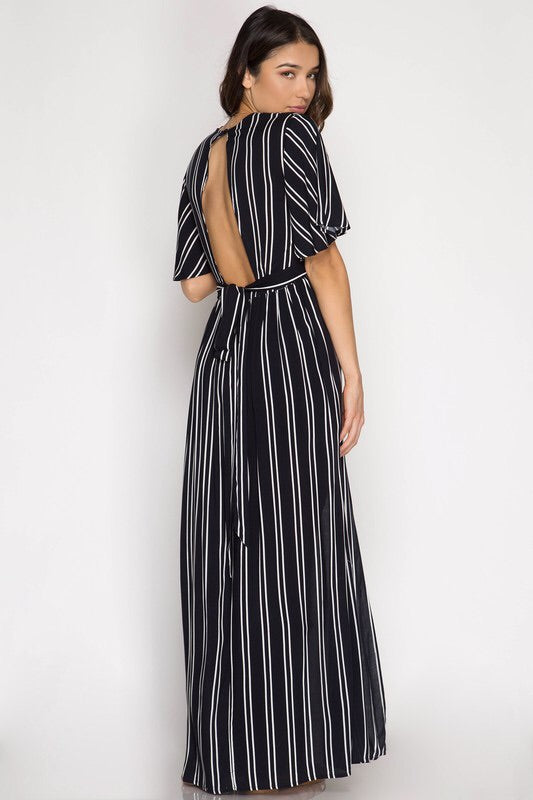 Elyse Striped Maxi Romper-Romper-Style Trolley
