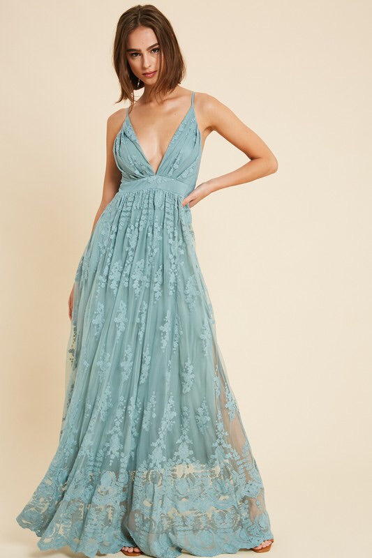 Belle Floral Embroidered Maxi dress-Dress-Style Trolley