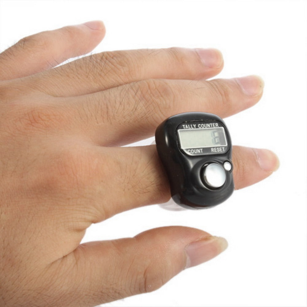Mini 5-Digit LCD Electronic Digital Golf Finger Hand Held Ring Tally Counter Black Color Drop shipping