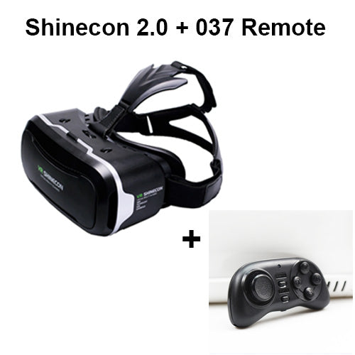 Googles Cardboard 3D Virtual Glasses Shinecon VR 2.0 ii Virtual Reality 3 d VR Headset Helmet Head Mount box + Remote Control