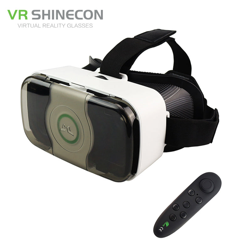 VR Shinecon 3.0 Headset 3D Virtual Reality Glasses Googles Front Cover Helmet box for 4.5-6' Mobile Phone with VR Controller